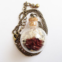 Dried Flower Specimen Sphere Orb Glass Bottle Necklace on Chain Rose and Queen Anne's Lace