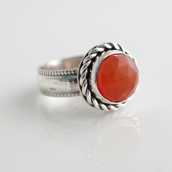 Carnelian and Silver Ring, Sterling Silver Ring, Stacking Ring