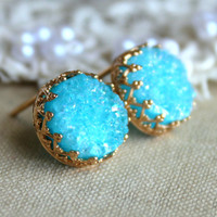 Druzy studs earrings Blue Aqua turquoise - 14k Gold filled Crown Lace setting gemstone jewelry.