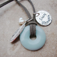 Inner Beauty Amazonite freshwater pearl inspirational necklace