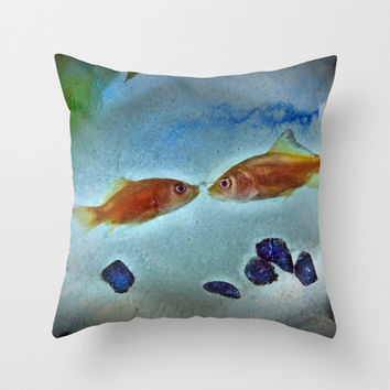 Frozen Goldfish Throw Pillow by Spirit Young