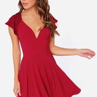 LULUS Exclusive Orchard Sunset Wine Red Short Sleeve Dress