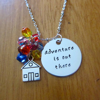 """Disney's """"UP"""" Inspired Necklace. Adventure is out there! House with balloons. Swarovski crystals. Hand Stamped. Silver colored. Ellie & Carl"""