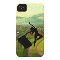 Colorguard Dancer Leaping with Flag iPhone 4 Case-Mate Cases from Zazzle.com