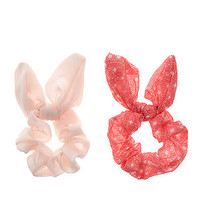Teens 2 Pack Pink and Coral Tile Print Bow Scrunchies