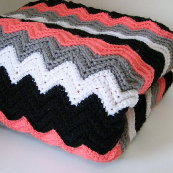 Crocheted Chevron Blanket, Crocheted Throw, Black White Gray Coral Throw, Crocheted Lap Blanket - FREE SHIPPING