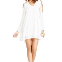 V-Neck Chiffon Dress in White