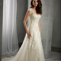 Graceful Cap Sleeve Scoop Neck Ivory White Lace Tulle Wedding Dress Custom Size