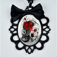 Day of the Dead Skeleton Girl Necklace Black Bow Red Rose Goth Halloween Cosplay