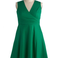 ModCloth Sleeveless A-line Beguiling Beauty Dress in Emerald