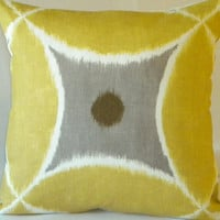 Pillow cover Yellow, white and pewter 20 x 20