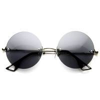 European Retro Frameless Round Fashion Sunglasses 8912