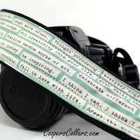 Camera Strap with Pocket, dSLR, Happy Thoughts, Aqua, Inspirational, SLR