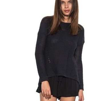 Womens Long Sleeve Blaine Pullover Sweater Ripped Exposed Back Navy
