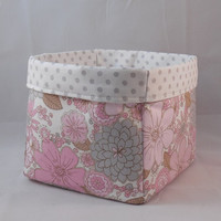 Pretty Pink And Gray Floral Fabric Basket For Storage Or Gift Giving