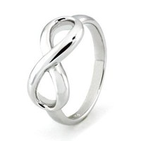 925 Sterling Silver Infinity Symbol Wedding Band Ring, Nickel Free Sz 8