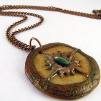 Glow in the Dark Steampunk Compass pendant by TheAmethystDragonfly