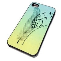 Apple iPhone 5 or 5S Case Cover Skin FEATHERS QUOTE OMBRE DESIGN BLACK HARD Plastic Teen Gift Vintage Hipster Fashion Design Art Print Cell Phone Accessories