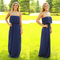 Just Say Yes Maxi Dress in Navy