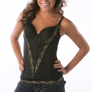 Black with gold trim ultra soft basque with g string