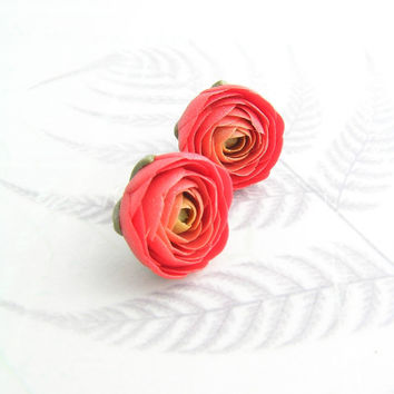 Red polymer clay earrings - polymer clay jewelry - stud earrings - floral jewelry - floral earrings