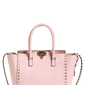 Women's Valentino 'Rockstud' Double Handle Leather Shopper - Pink