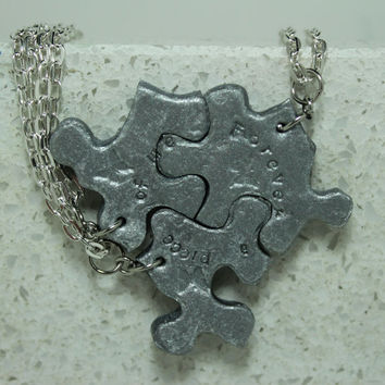 Puzzle Pieces Interlocking Pendants Forever a piece of me quote Silver polymer clay