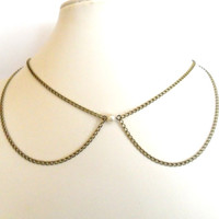Peter Pan Collar Pearl Necklace in Antique Bronze Rockabilly Retro Minimalist  Vintage Style Simplicity chain