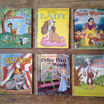 Six Pack of 1st Edition Disney Little Golden Books. Various Conditions. 1940's and 1950's.  Simon and Shuster