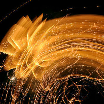 Fine Art Photo Print - Fireworks Fourth of July Gold Shower Abstract Home Decor Wall Art 8 x 12