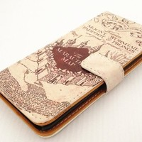 Hogwarts Marauder's Map Unique Design Pattern Slim Wallet Card Flip Stand PU Leather Pouch Case Cover For Apple iPod Touch 5 5th Generation