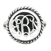 Sterling Silver Monogram Engravable Round with Rope Edge Signet Ring