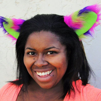 Clip In Neon Fox Cat Furry Fluffy Folded Animal Rave Ears Striped Cheshire Cat UV Reactive