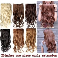 """Better Dealz 20"""" 135g Long Curly Clip-on Hair Extension Wigs Chestnut Brown,chocolate Brown,light Blonde,medium Brown,brown,natural Black Six Color to Choose (natural Black)"""