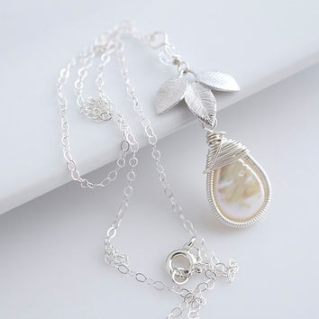 Pearl Necklace, Wire Wrapped Necklace, Bridal Jewelry