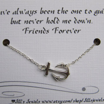 Best Friend Anchor Charm Necklace and Friendship Quote Inspirational Card- Bridesmaids Gift - Friends Forever - Quote Gift