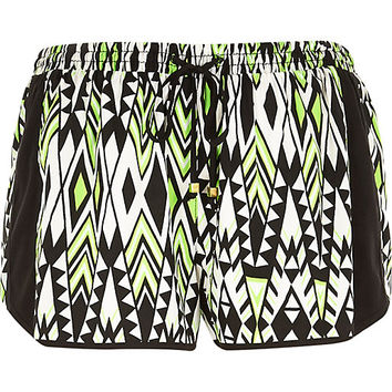 River Island Womens Green Aztec print running shorts