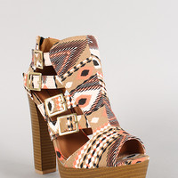 Qupid Tribal Buckle Peep Toe Platform Bootie