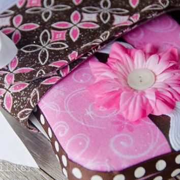 Diapering Kit Travel Changing Pad Wipes Case Set Wet Bag Brown Pink Sparkle Cotton and Vinyl - Flourish