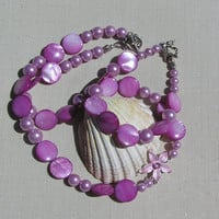 "Necklace & Bracelet Set - Freshwater Pearl and Mother of Pearl ""Pink Sunrise"""