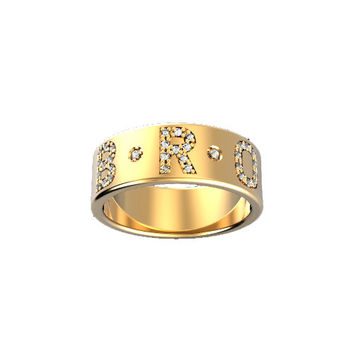 14K Gold 7MM Pave' Diamond Initial Band