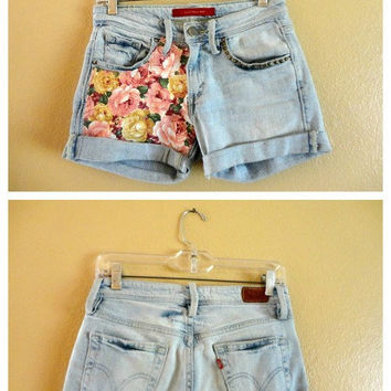 One of a kind customized shorts with floral print and bronze studs