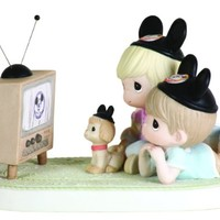 Precious Moments Disney Two Kids Laying Down Watching TV Figurine