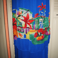 Amazing Vintage  HAWAIIAN Skirt  Dorothy Schoelen Blue Long Retro Style  Rayon Size 8