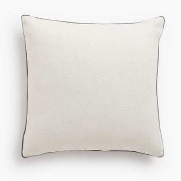 Belgian Linen Pillow Cover - Shale Piped