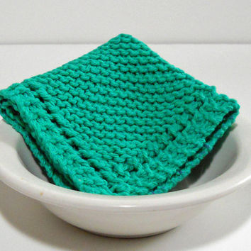 Large Hand Knit Cotton Dishcloth in Mod Green,  Large Hand Knit Cotton Washcloth, mix and match to make a custom set