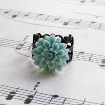 Ring Jewelry Flower Dahlia Flower Mum Green by laurenblythedesigns