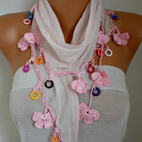 Spring Celebrations Pink Floral Scarf Easter Cotton Necklace Cowl Gift Ideas For Her Women's Fashion Women Scarves Mother's Day Gift