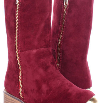 Gold Tipped Toe Faux Suede Boots