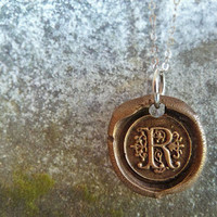Wax Seal Monogram Initial Necklace Antiqued by Renata and Jonathan